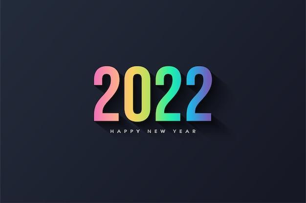 Szczęśliwego nowego roku 2022 z kolorowym, luksusowym designem