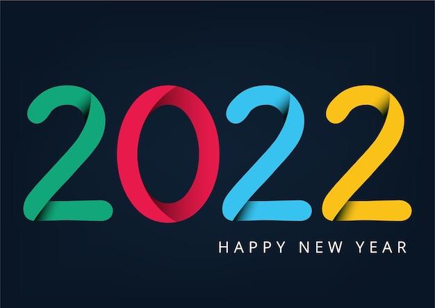 Szczęśliwego nowego roku 2022 z kolorowym luksusowym szablonem projektu