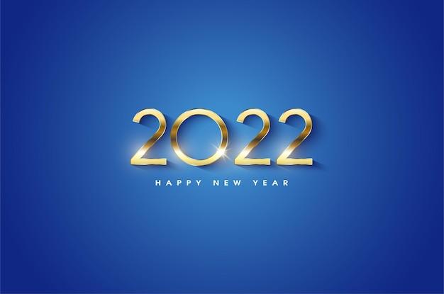 Szczęśliwego nowego roku 2022 z lśniącymi liczbami