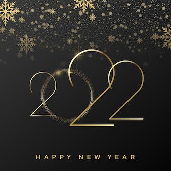 Szczęśliwego nowego roku 2022 z luksusowym złotym tekstem i spadającymi płatkami śniegu. wektor.