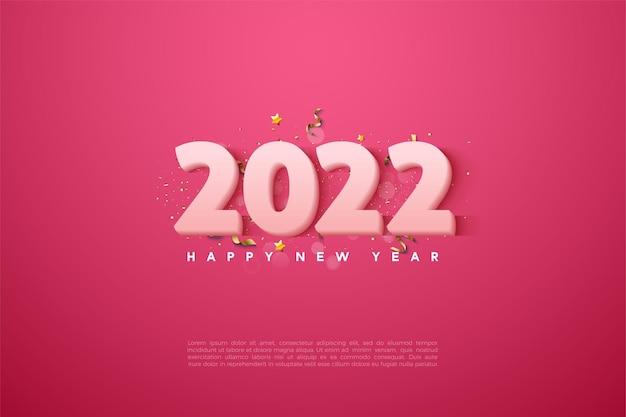 Szczęśliwego nowego roku 2022 z miękkimi białymi cyframi