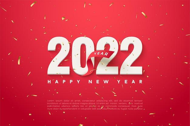 Szczęśliwego nowego roku 2022 z numerami i czerwoną wstążką