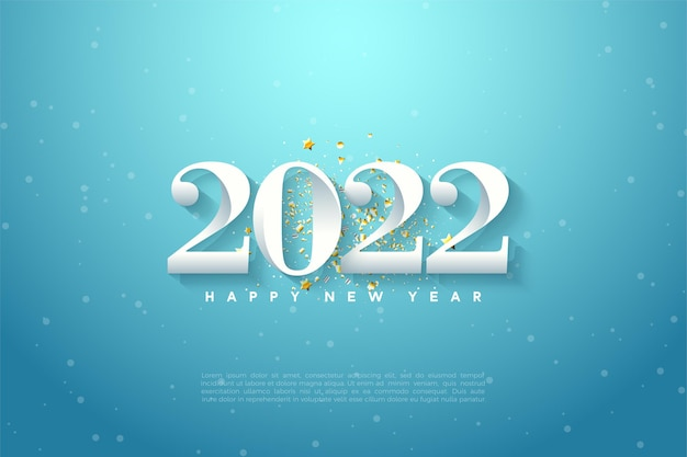 Szczęśliwego nowego roku 2022 z numerami na niebieskim tle nieba