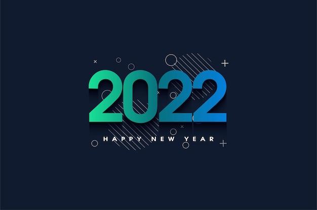 Szczęśliwego nowego roku 2022 z pięknymi kolorami liczb