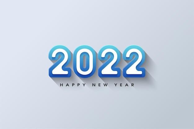 Szczęśliwego nowego roku 2022 z solidnym niebieskim wzorem obramowania liczb