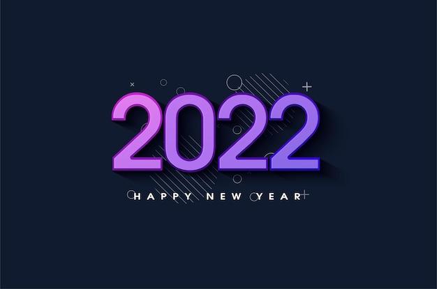 Szczęśliwego nowego roku 2022 z uroczymi kolorowymi cyframi