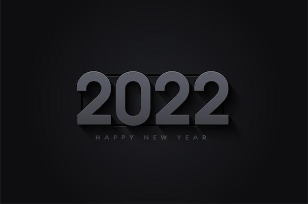 Szczęśliwego nowego roku 2022 z zacienionymi i wytłoczonymi numerami 3d