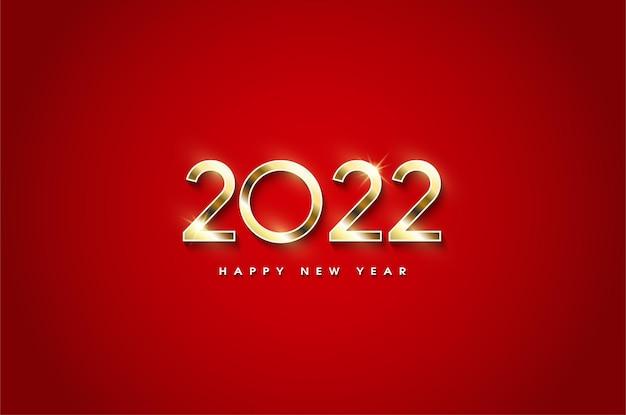 Szczęśliwego nowego roku 2022 ze świecącymi liczbami