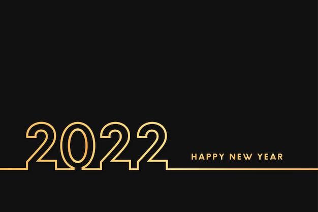 Szczęśliwego nowego roku 2022 ze złotym tłem płaskiej linii