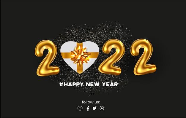 Szczęśliwego nowego roku 2022 ze złotymi cyframi i realistycznym prezentem