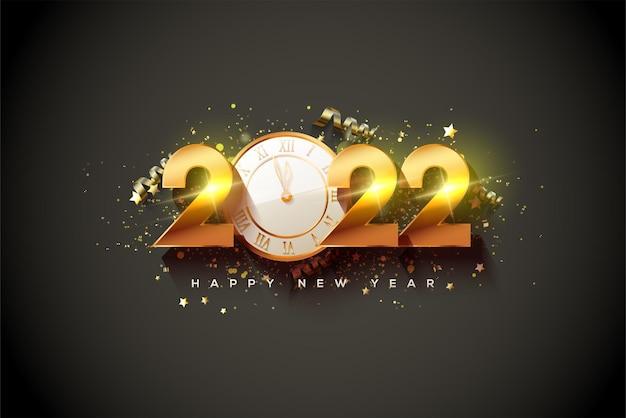 Szczęśliwego nowego roku 2022 ze złotymi cyframi i złotą godziną