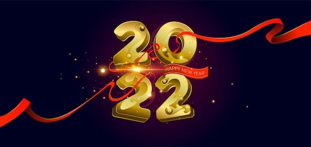 Szczęśliwego nowego roku 2022 złote cyfry 3d ze wstążkami