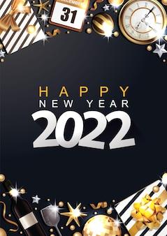 Szczęśliwego nowego roku 2022 złote i czarne kolory miejsce na tekst bombki gwiazda kieliszek do szampana flayer