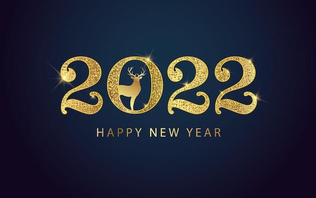 Szczęśliwego nowego roku 2022 złote liczby z świątecznym jeleniem projekt karty z pozdrowieniami świątecznymi