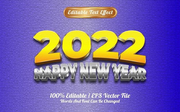 Szczęśliwego nowego roku 2022 złoto żółte i srebrne tekstury 3d edytowalny efekt tekstowy
