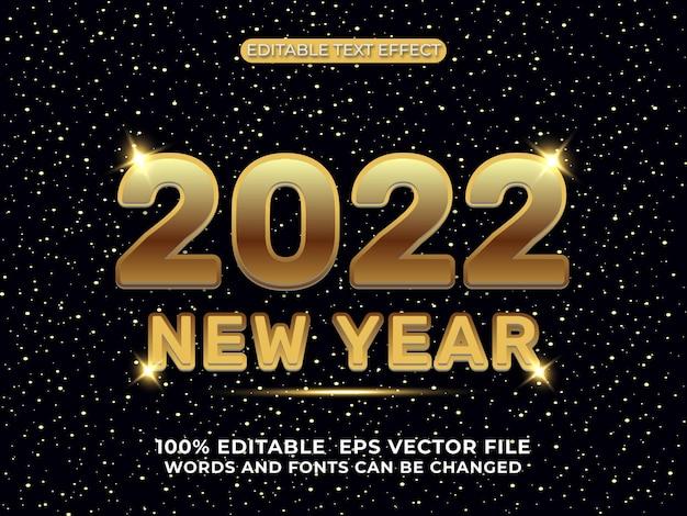 Szczęśliwego nowego roku 2022 złoty 3d edytowalny efekt tekstowy czarny na tle