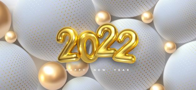 Szczęśliwego nowego roku 2022 znak ze złotymi i białymi kulkami