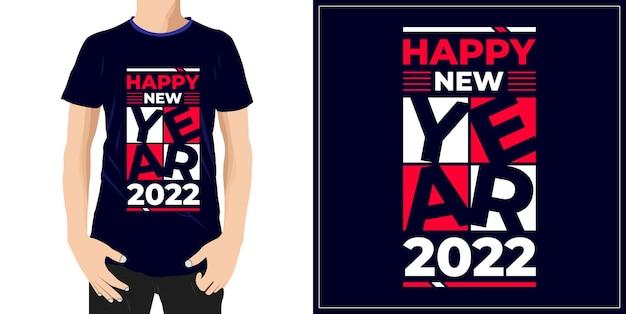 Szczęśliwego nowego roku 2022projekt gotowy na etykietę koszulki z kubkiem lub drukowanie premium wektorów