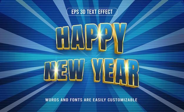 Szczęśliwego nowego roku 3d edytowalny efekt tekstowy