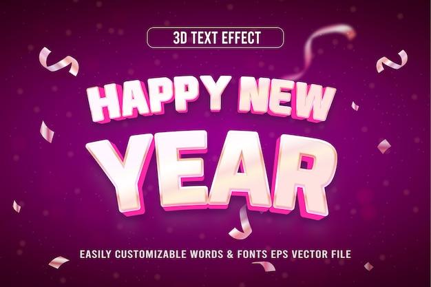 Szczęśliwego nowego roku 3d edytowalny styl efektu tekstowego