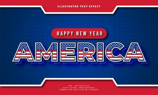 Szczęśliwego nowego roku ameryka 2021 edytowalny efekt tekstowy