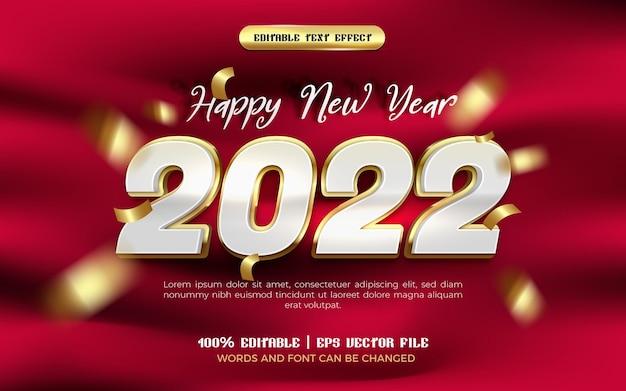 Szczęśliwego nowego roku białe luksusowe złoto błyszczący szablon stylu 3d edytowalnego efektu tekstowego