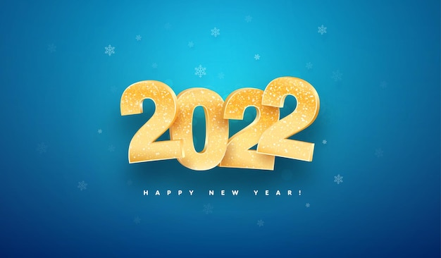 Szczęśliwego nowego roku celebracja ilustracji wektorowych złote na białym tle liczby świąteczne na niebieskim tle