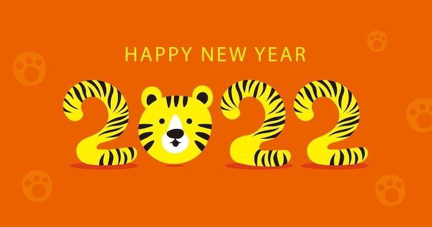 Szczęśliwego nowego roku chiński nowy rok rok tygrysa postać z kreskówki płaska konstrukcja premium wektorów