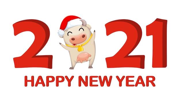 Szczęśliwego nowego roku cute krowy kartkę z życzeniami