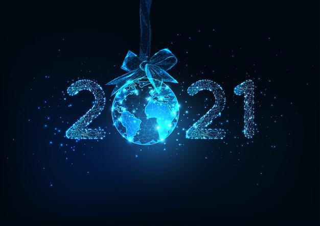 Szczęśliwego nowego roku cyfrowy baner internetowy z futurystycznym numerem i kuli ziemskiej wiszące na wstążce łuk