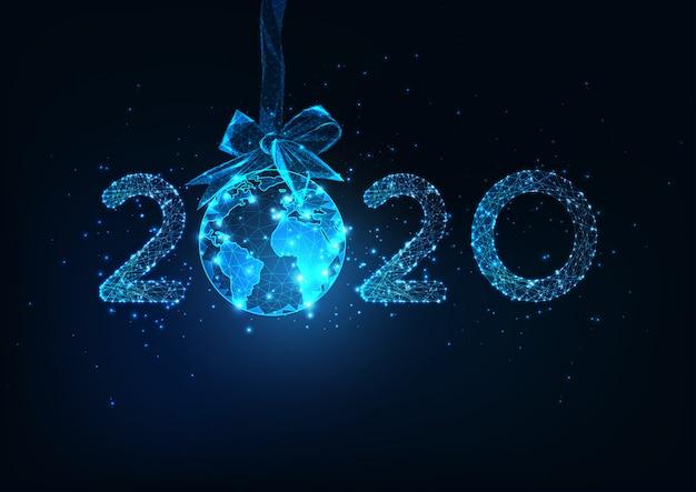 Szczęśliwego nowego roku cyfrowy tło sieci web z futurystycznym numerem 2020 i kuli ziemskiej wiszące na wstążce łuk