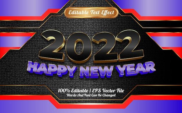 Szczęśliwego nowego roku czarno-niebieski złoty styl 3d edytowalny efekt tekstowy