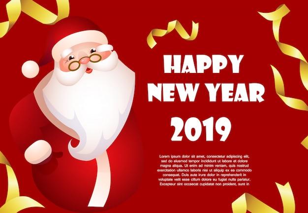 Szczęśliwego nowego roku czerwony sztandar projekt z kreskówki świętego mikołaja
