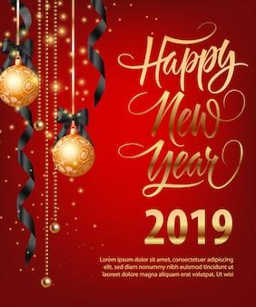 Szczęśliwego nowego roku, dwadzieścia dziewiętnaście napis z bombkami