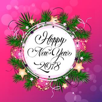 Szczęśliwego nowego roku dwadzieścia osiemnaście napis