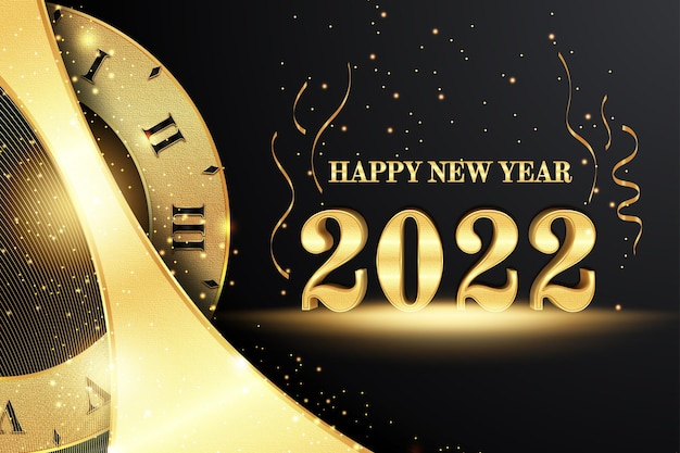 Szczęśliwego nowego roku edytowalny efekt tekstowy w stylu czarnego złota z zegarem