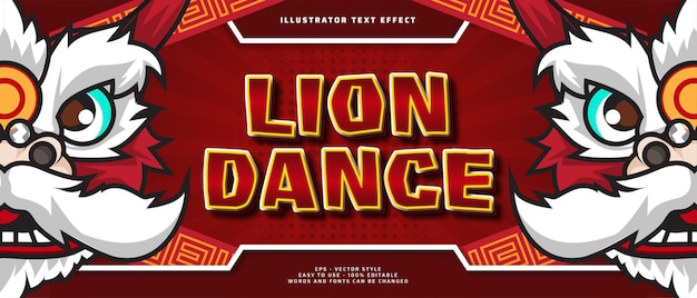 Szczęśliwego nowego roku edytowalny efekt tekstowy z ilustracją postaci tańca lwa