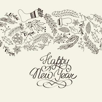 Szczęśliwego nowego roku gratulacje dekoracyjne doodle z kreskówkami symbolizującymi początek następnego roku ilustracji