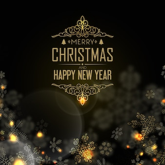 Szczęśliwego nowego roku i pocztówki świąteczne z wigilią, światłem świec i wieloma kreatywnymi płatkami śniegu na czarno