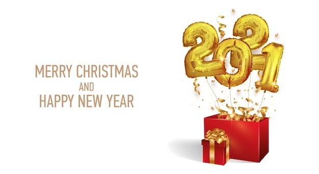 Szczęśliwego nowego roku i świąt bożego narodzenia 2021. złote balony numer 2021.