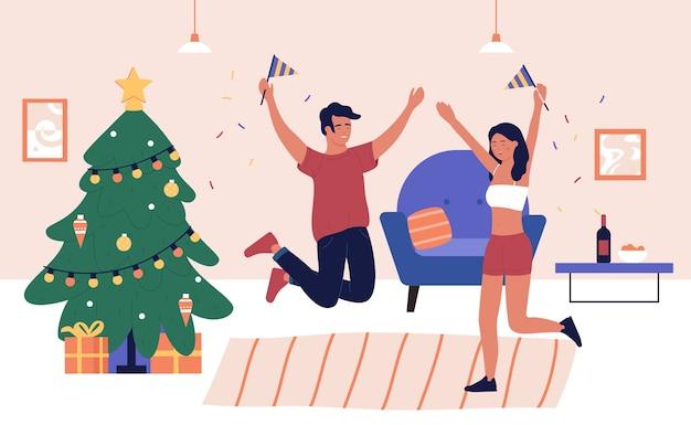 Szczęśliwego nowego roku i świąt bożego narodzenia na imprezie domowej. para przyjaciół razem