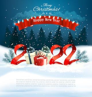 Szczęśliwego nowego roku i wesołych świąt bożego narodzenia tło wakacje z pudełkami na prezenty