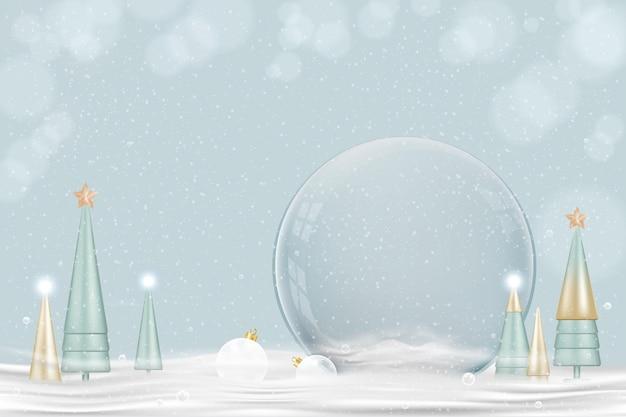 Szczęśliwego nowego roku i wesołych świąt bożego narodzenia tło. xmas snowball z stożkowym drzewem na śniegu, projekt 3d szklanej kuli śnieżnej. świąteczne elementy świąteczne. plakat świąteczny, kartka z życzeniami, ulotka z miejscem na kopię
