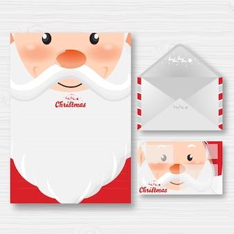 Szczęśliwego nowego roku i wesołych świąt bożego narodzenia z zestawem szablonu listu i koperty santa claus cartoon