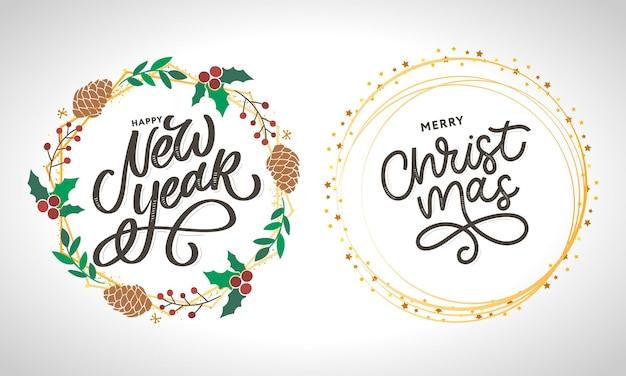 Szczęśliwego nowego roku i wesołych świąt odręczny napis nowoczesny pędzel
