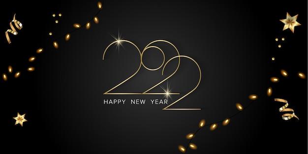 Szczęśliwego nowego roku i wesołych świąt realistyczny wektor kartkę z życzeniami z bombkami