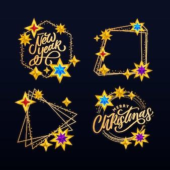 Szczęśliwego nowego roku i wesołych świąt skład napis zestaw z gwiazdami i błyszczy.