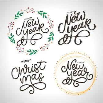 Szczęśliwego nowego roku i wesołych świąt zestaw napisów odręczny nowoczesny pędzel