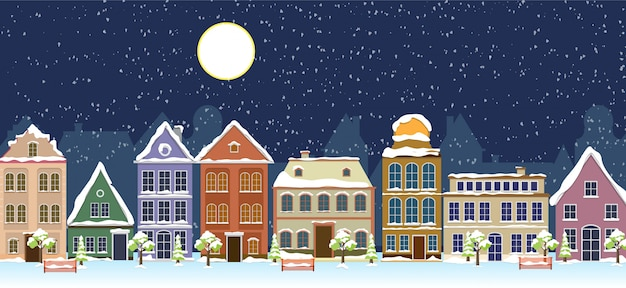 Szczęśliwego nowego roku i wesołych świąt zimowych krajobraz ulicy starego miasta.