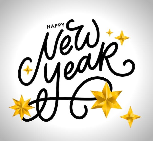 Szczęśliwego nowego roku kaligrafia czarny tekst ze złotymi gwiazdami